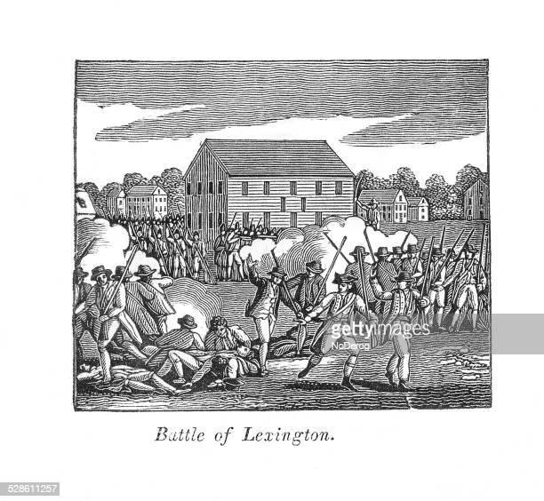 レキシントンの戦い彫り込み米国の歴史 - レキシントンの戦い点のイラスト素材/クリップアート素材/マンガ素材/アイコン素材