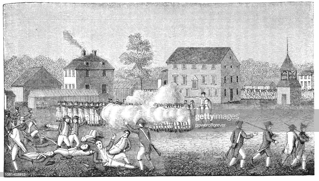 Battle of Lexington in Massachusetts, USA (1775) : Stock Illustration