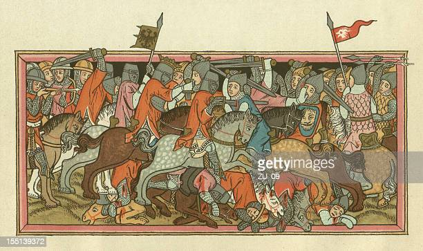 battle of mühldorf, on september 28, 1322, lithograph, published 1880 - circa 14th century stock illustrations, clip art, cartoons, & icons