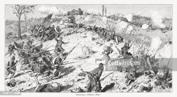 戦いの宣教師リッジ (1863 年)、アメリカ南北戦争、1886 年出版 - 19世紀点のイラスト素材/クリップアート素材/マンガ素材/アイコン素材
