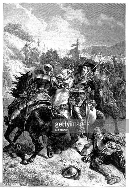 ilustrações de stock, clip art, desenhos animados e ícones de battle of naseby - charles i in action (with lord carnewarth - in full armour) ,14th june 1645 - luta de espadas