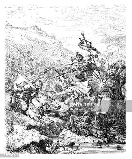 battle of saint gotthard ottoman empire attacking austria 17th century - ottoman empire stock illustrations