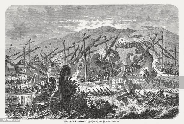 battle of salamis (480 bc), wood engraving, published in 1880 - ancient greece stock illustrations, clip art, cartoons, & icons