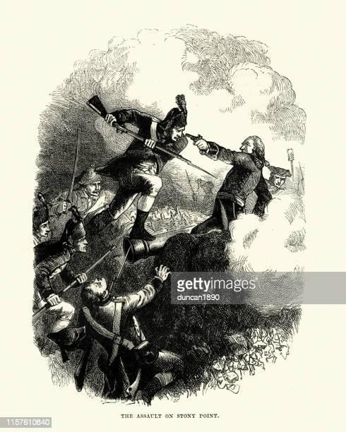 battle of stony point, american revolutionary war - bayonet stock illustrations
