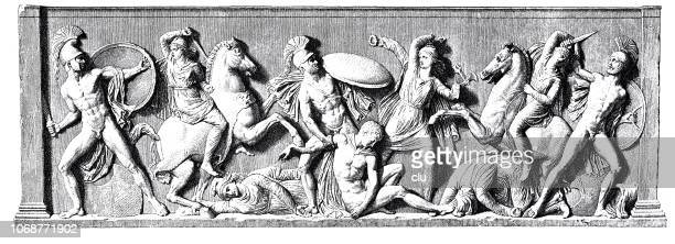 battle of the amazons, relief on a sarcophagus - relief carving stock illustrations