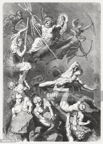 battle of the gods against the titans, greek mythology - greek mythology stock illustrations, clip art, cartoons, & icons