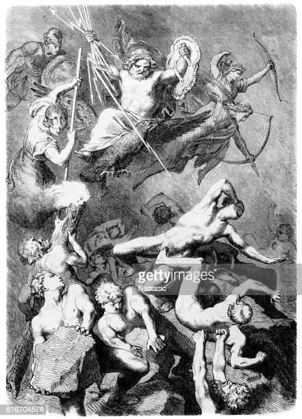 battle of the gods against the titans, greek mythology - biblical event stock illustrations