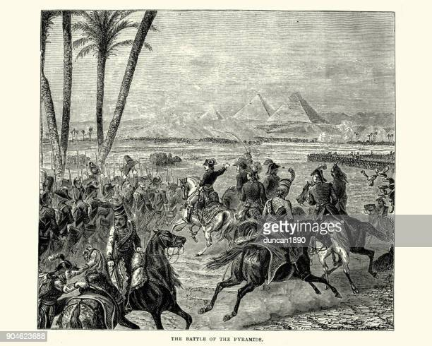 battle of the pyramids - giza stock illustrations