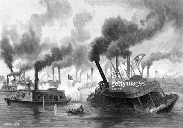 battle of the rams - battleship stock illustrations