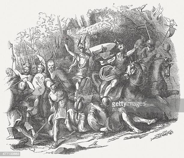 ilustrações de stock, clip art, desenhos animados e ícones de batalha da floresta de teutoburgo - luta de espadas