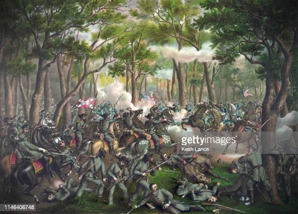 battle of the wilderness - american civil war battle stock illustrations