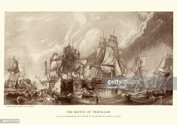 battle of trafalgar - admiral nelson stock illustrations