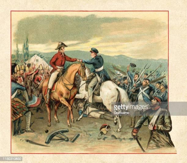 illustrations, cliparts, dessins animés et icônes de bataille de waterloo 1815 - guerres napoléoniennes