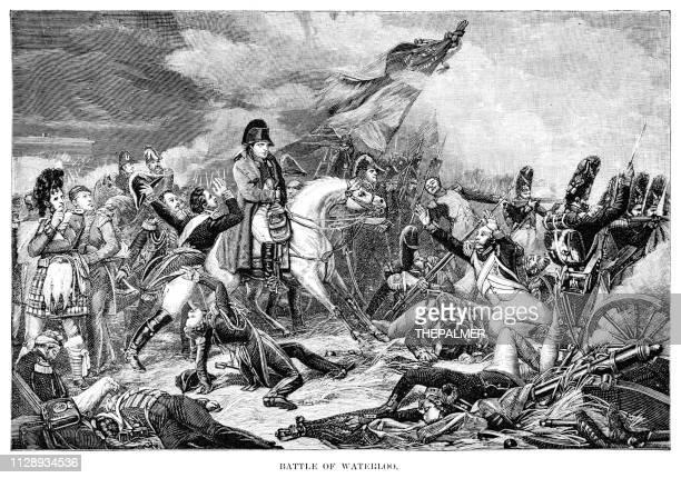illustrations, cliparts, dessins animés et icônes de bataille de waterloo, gravure de 1891 - guerres napoléoniennes
