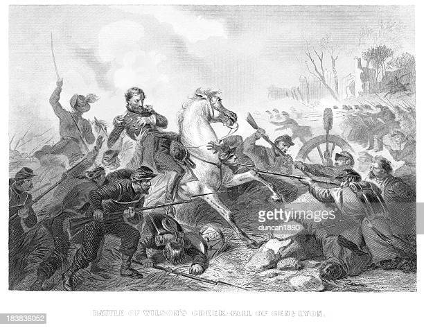 battle of wilson's creek - army soldier stock illustrations