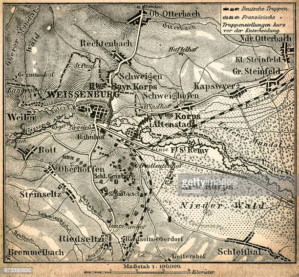 battle of wissembourg or battle of weissenburg map - world war ii stock illustrations
