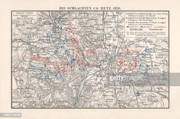 battles near metz, franco-prussian war in 1870, lithograph, published 1897 - lorraine stock illustrations, clip art, cartoons, & icons