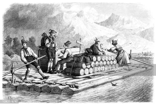 stockillustraties, clipart, cartoons en iconen met beierse mensen op de rivier isar die vat met bier vervoeren - beieren