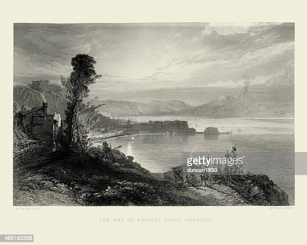 bay of naples: early morning 1857 - naples italy stock illustrations