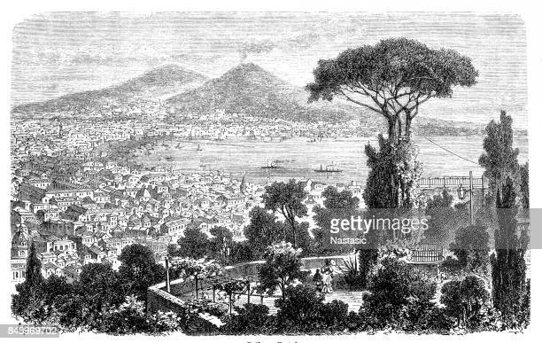 bay of naples - naples italy stock illustrations