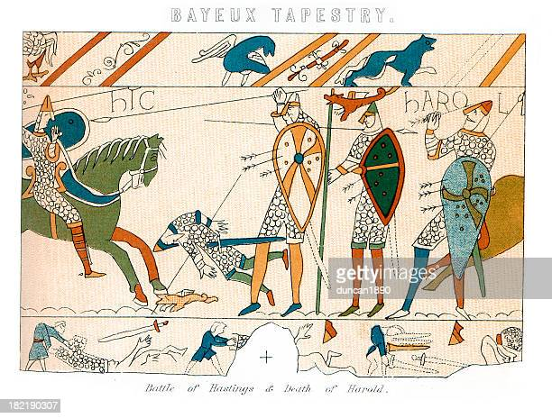 bayeux tapestry - battle of hastings - tapestry stock illustrations