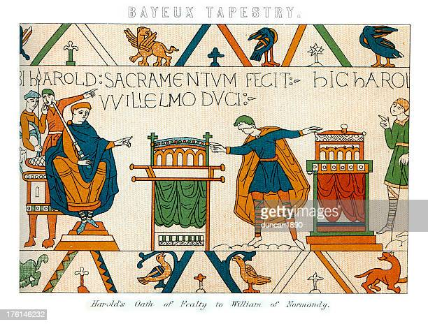 bayeux tapestry - harold's oath - tapestry stock illustrations