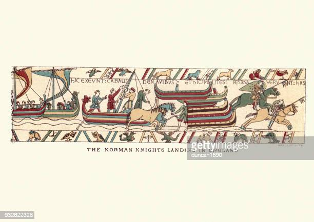 bayeux tapestry showing norman knights landing in england, 1066 - tapestry stock illustrations
