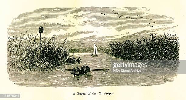 Bayou of the Mississippi River, USA, wood engraving (1872)