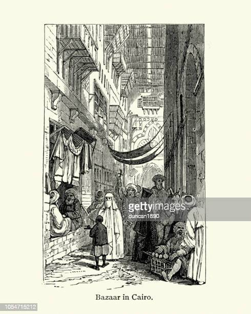 bazaar in cairo, 19th century - north african ethnicity stock illustrations, clip art, cartoons, & icons