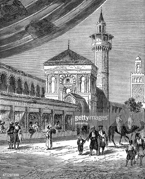 Bazaar in Tunis (1882 engraving)