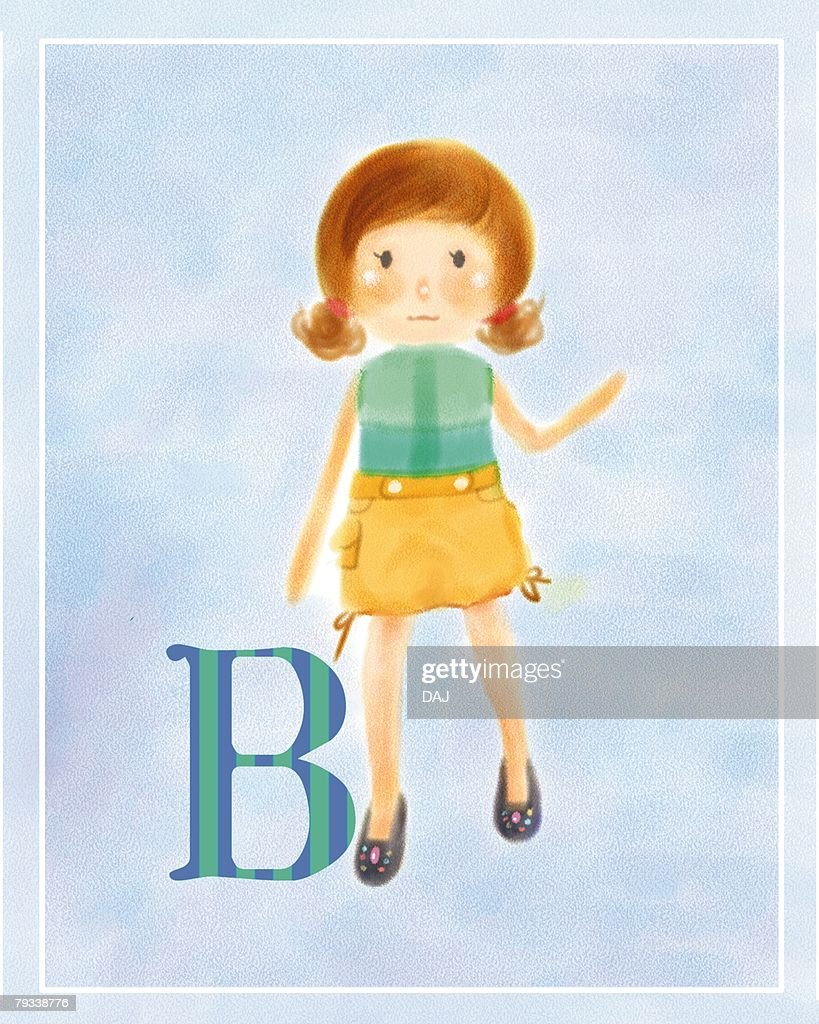 B-blood-type woman, front view, blue background : Stock Illustration