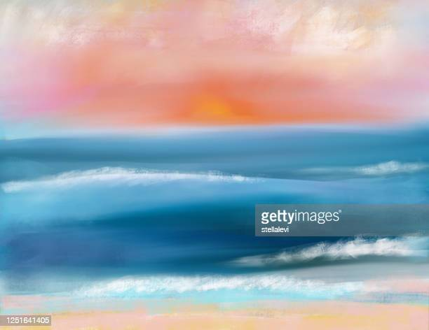 beach and ocean at sunset painting - stellalevi stock illustrations