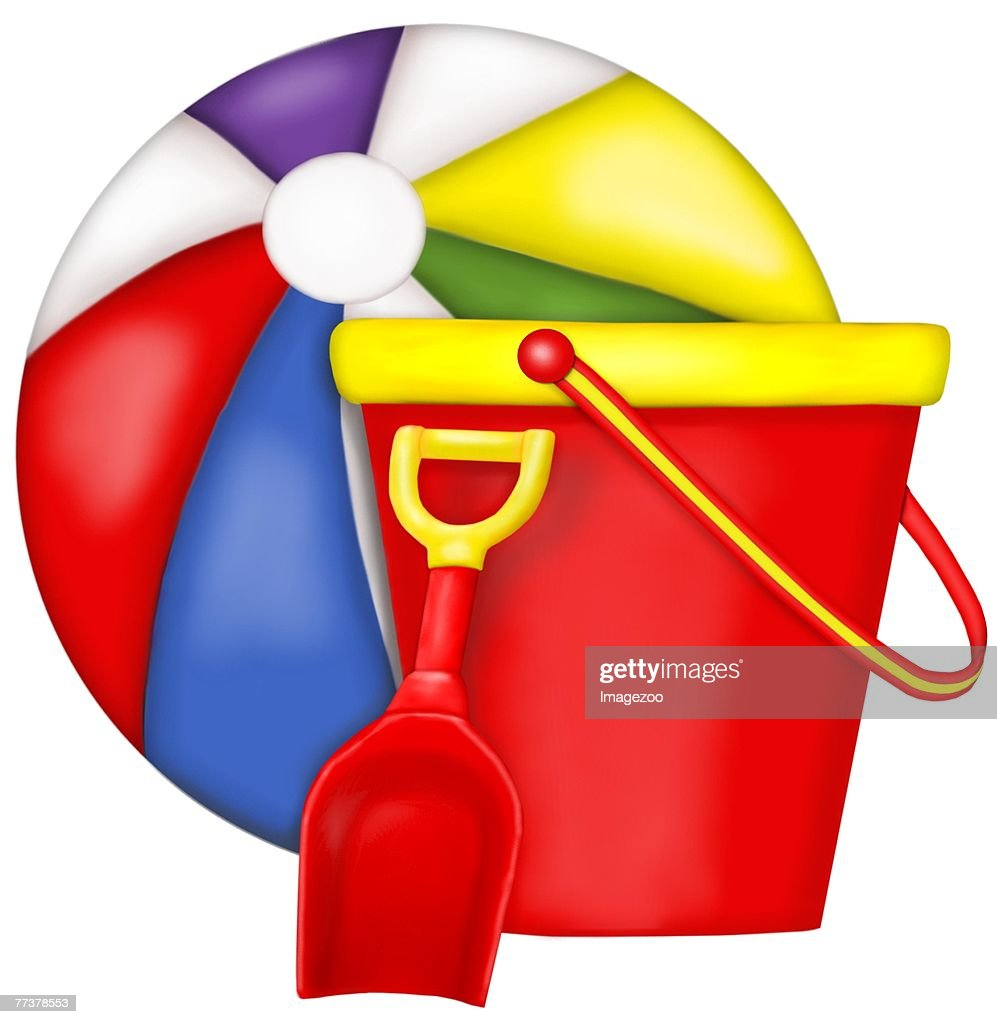 beach ball and bucket : Stockillustraties