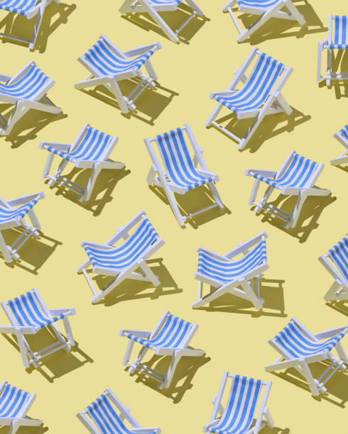 Beach chairs on yellow ground, 3D Rendering