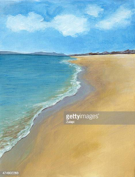 beach oil painting - seascape stock illustrations, clip art, cartoons, & icons