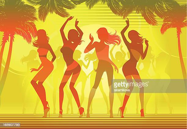 beach party.  sunset silhouettes - latin music stock illustrations, clip art, cartoons, & icons