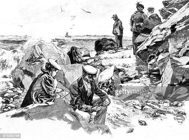 beach promenade between crashed rock faces in helgoland - promenade stock illustrations, clip art, cartoons, & icons