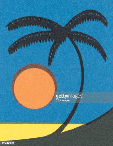 beach scene - vertical stock illustrations