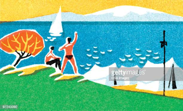 beach scene - sea stock illustrations