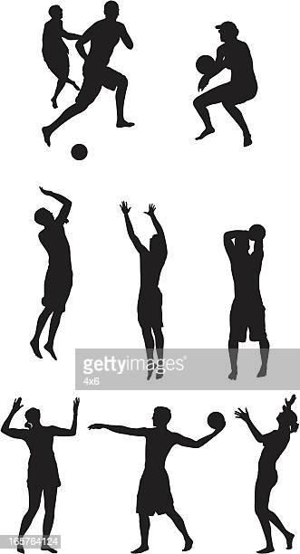 ilustraciones, imágenes clip art, dibujos animados e iconos de stock de juego de deportes de jugadores profesionales de vóleibol de playa - vóleibol de playa