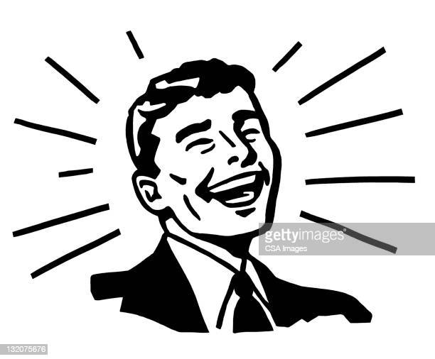 beaming smiling man - laughing stock illustrations, clip art, cartoons, & icons