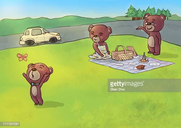 bear family picnic - picnic blanket stock illustrations, clip art, cartoons, & icons