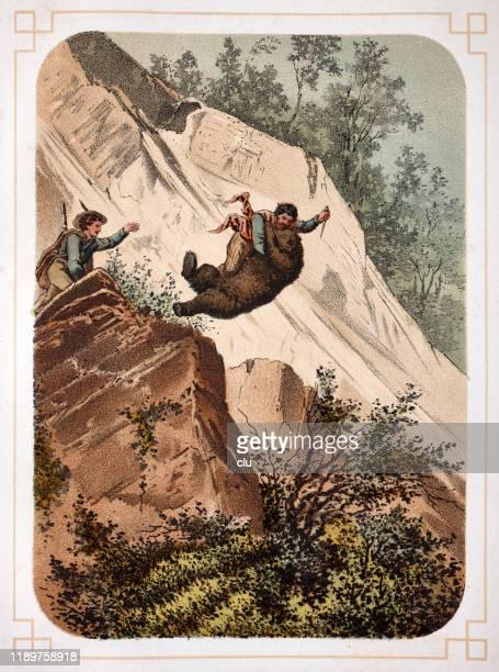 stockillustraties, clipart, cartoons en iconen met beer jagen in de pyreneeën - pyreneeën
