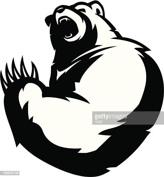bear mascot b&w - angry stock illustrations, clip art, cartoons, & icons