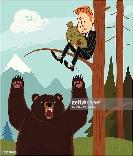 Bear trying to reach man in tree with sacks of Euros