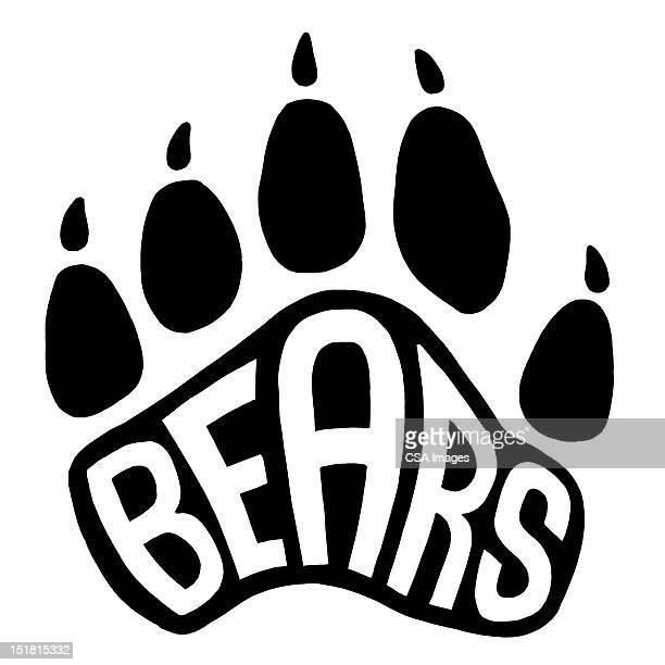 bears paw print - logo stock illustrations