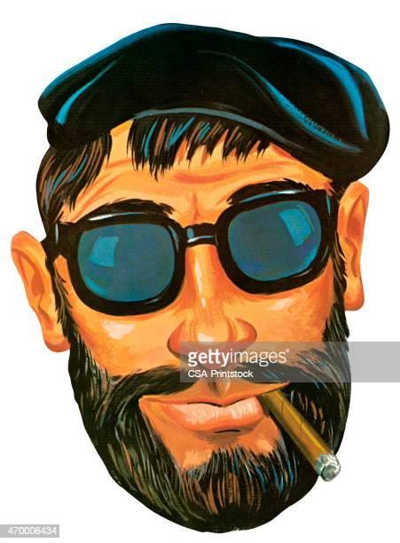 ilustrações de stock, clip art, desenhos animados e ícones de beatnik - cavanhaque