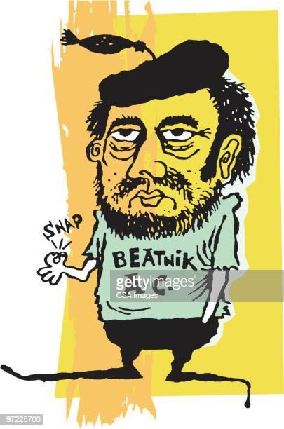beatnik - beat generation stock illustrations