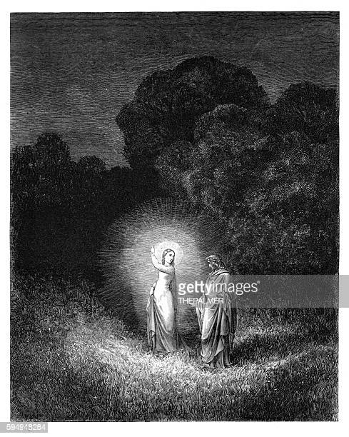 beatrice and virgil engraving 1870 - inferno stock illustrations, clip art, cartoons, & icons