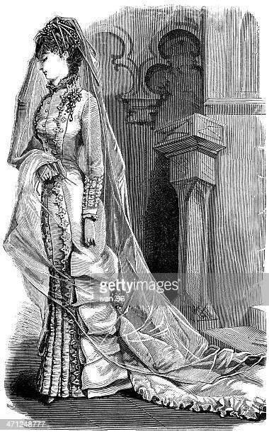 beautiful bride - historical clothing stock illustrations